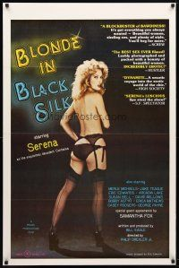 9w060 BLONDE IN BLACK SILK 1sh '79 Ron Jeremy, image of sexy Serena in lingerie!