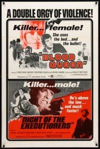9w062 BLOOD QUEEN/NIGHT OF THE EXECUTIONERS 1sh '73 a double orgy of violence!