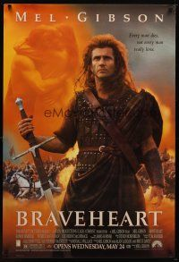 9w078 BRAVEHEART advance 1sh '95 cool image of Mel Gibson as William Wallace!