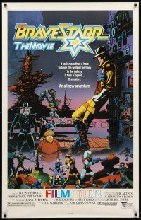 9w079 BRAVESTARR THE MOVIE 1sh '87 Lou Scheimer, art from sci-fi western animated cartoon!