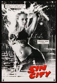 9w002 SIN CITY teaser DS 1sh '05 Frank Miller comic, black & white image of sexy Jessica Alba!