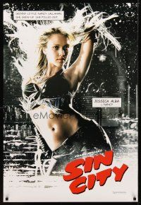 9w003 SIN CITY teaser DS 1sh '05 Frank Miller comic, color image of sexy Jessica Alba!