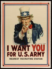 9z002 I WANT YOU FOR U.S. ARMY linen 30x41 WWI war poster '17 Uncle Sam by James Montgomery Flagg!