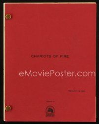 1a035 CHARIOTS OF FIRE revised second draft script February 13, 1980, screenplay by Colin Welland!