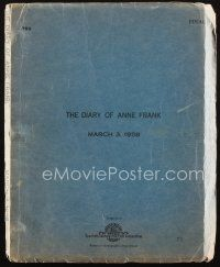 1a056 DIARY OF ANNE FRANK final draft script March 3, 1958, screenplay by Goodrich & Hackett!