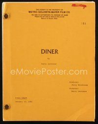 1a057 DINER final draft script January 12, 1981, screenplay by director Barry Levinson!