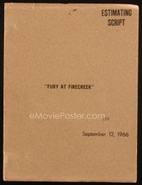 1a072 FIRECREEK estimating script September 12, 1966, screenplay by Calvin Clements, working title!