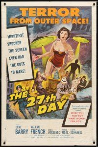 1w011 27th DAY 1sh '57 terror from space, mightiest shocker the screen ever had the guts to make!