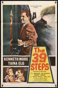 1w014 39 STEPS 1sh '60 Kenneth More, Taina Elg, English crime thriller, cool art!