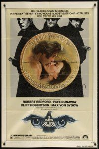 1w012 3 DAYS OF THE CONDOR 1sh '75 secret agent Robert Redford & Faye Dunaway!