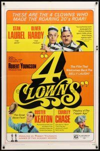 1w015 4 CLOWNS 1sh '70 Stan Laurel & Oliver Hardy, Buster Keaton, Charley Chase