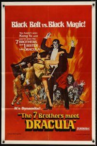 1w018 7 BROTHERS MEET DRACULA 1sh '79 The Legend of the 7 Golden Vampires, different art!