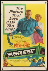1w022 99 RIVER STREET 1sh '53 John Payne with sexy double-crossing Evelyn Keyes & Peggie Castle!