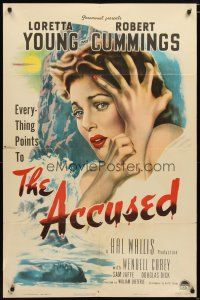 1w027 ACCUSED style A 1sh '49 great super close art of terrified sexy Loretta Young & dead body!