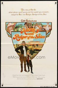 1w028 ACE ELI & RODGER OF THE SKIES 1sh '72 pilot Cliff Robertson, written by Steven Spielberg!