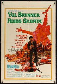 1w030 ADIOS SABATA int'l 1sh '71 Yul Brynner aims to kill, and his gun does the rest, cool art!