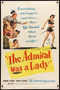1w031 ADMIRAL WAS A LADY 1sh '50 Edmond O'Brien, boxer & cab driver lust after sexy Wanda Hendrix!