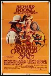 1w034 AGAINST A CROOKED SKY 1sh '75 cool western Jarvis art of Richard Boone, Stewart Petersen!