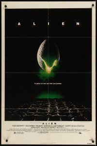 1w038 ALIEN 1sh '79 Ridley Scott outer space sci-fi monster classic, cool hatching egg image!