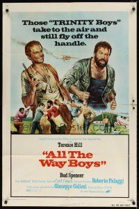 1w042 ALL THE WAY BOYS 1sh '73 cool artwork of Terence Hill & Bud Spencer, the Trinity boys!