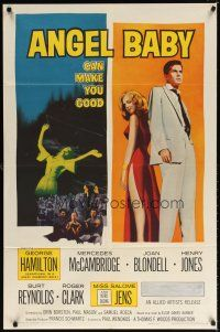 1w051 ANGEL BABY 1sh '61 full-length George Hamilton standing with sexiest Salome Jens!