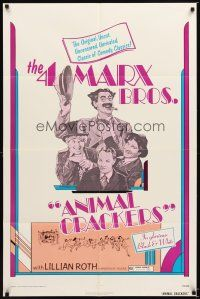 1w052 ANIMAL CRACKERS 1sh R74 wacky artwork of all four Marx Brothers!