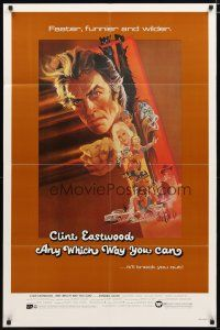 1w055 ANY WHICH WAY YOU CAN 1sh '80 cool artwork of Clint Eastwood by Bob Peak!