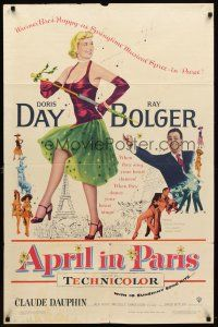 1w057 APRIL IN PARIS 1sh '53 pretty Doris Day and wacky Ray Bolger in France!