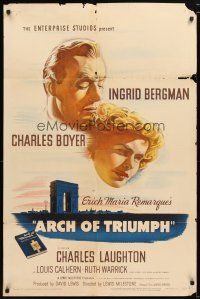 1w059 ARCH OF TRIUMPH 1sh '47 Ingrid Bergman, Charles Boyer, from novel by Erich Maria Remarque!