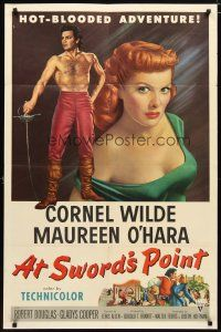 1w062 AT SWORD'S POINT 1sh '52 full-length Cornel Wilde, super close up of sexy Maureen O'Hara!