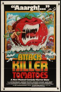 1w066 ATTACK OF THE KILLER TOMATOES 1sh '79 wacky monster artwork by David Weisman!