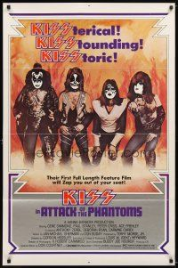 1w067 ATTACK OF THE PHANTOMS 1sh '78 cool portrait of KISS, Criss, Frehley, Simmons, Stanley