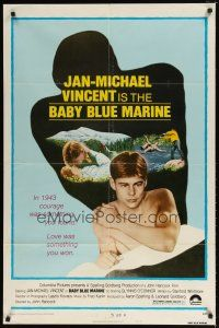 1w070 BABY BLUE MARINE style B 1sh '76 naked sexy Jan-Michael Vincent & kissing Glynis O'Connor!