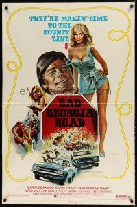 1w075 BAD GEORGIA ROAD 1sh '77 sexy art of Carol Lynley, makin' time to the county line!