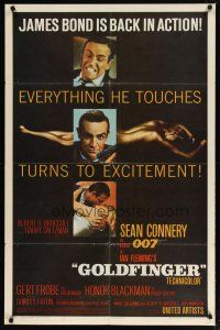 1w001 GOLDFINGER flat finish 1sh '64 3 images of Sean Connery as James Bond + golden Shirley Eaton!