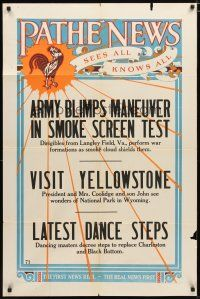 1w002 PATHE NEWS 1sh '27 newsreel, Army Blimps Maneuver, Yellowstone, sees all knows all!