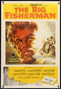 2d139 BIG FISHERMAN Aust 1sh '59 cool artwork of Howard Keel, Susan Kohner & John Saxon!