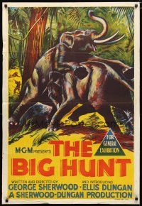 2d140 BIG HUNT Aust 1sh '59 cool artwork of elephants fighting with each other in the jungle!