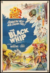 2d132 20TH CENTURY FOX Aust 1sh 1950s cool stone litho stock poster, The Black Whip!