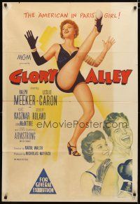 2d167 GLORY ALLEY Aust 1sh '52 boxer Ralph Meeker, sexy Leslie Caron, The American in Paris girl!