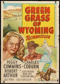 2d169 GREEN GRASS OF WYOMING Aust 1sh '48 stone litho of pretty Peggy Cummins & Charles Coburn!