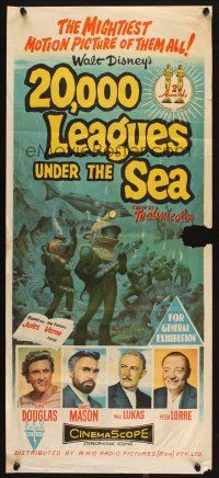 2d318 20,000 LEAGUES UNDER THE SEA Aust daybill '55 Jules Verne classic, art of deep sea divers!