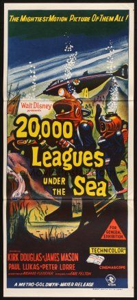 2d319 20,000 LEAGUES UNDER THE SEA Aust daybill R60s Jules Verne classic, art of deep sea divers!
