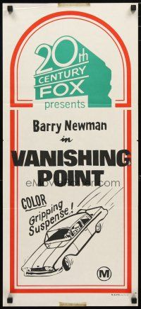 2d321 20TH CENTURY FOX Aust daybill '71 Vanishing Point, gripping suspense, car artwork!