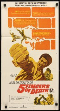 2d323 5 FINGERS OF DEATH Aust daybill '73 martial arts action, sights & sounds like never before!