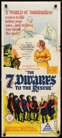 2d326 7 DWARFS TO THE RESCUE Aust daybill '65 I Sette Nani Alla Riscossa, live action fairy tale!