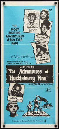 2d332 ADVENTURES OF HUCKLEBERRY FINN Aust daybill R70s Mark Twain, Eddie Hodges, Archie Moore