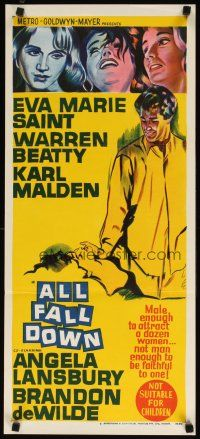 2d335 ALL FALL DOWN Aust daybill '62 Warren Beatty, Eva Marie Saint, Karl Malden, Frankenheimer