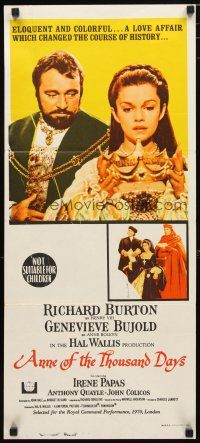 2d340 ANNE OF THE THOUSAND DAYS Aust daybill '70 c/u of King Richard Burton & Genevieve Bujold!