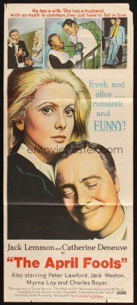 2d341 APRIL FOOLS Aust daybill '69 Jack Lemmon & Catherine Deneuve are married but not to each other